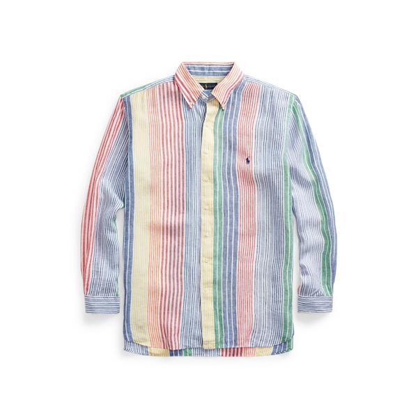 Polo Ralph Lauren Striped Linen Shirt In Blue/red Multi