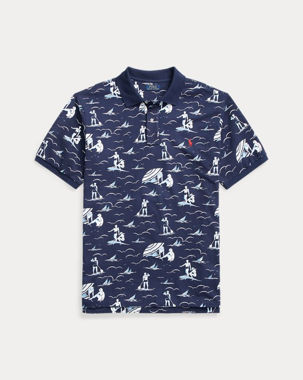 Swimmer-Print Mesh Polo Shirt