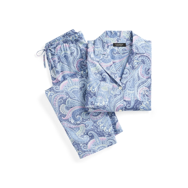 로렌 랄프로렌 파자마 세트 Lauren Print Sateen Cotton Sleep Set,Blue Paisley