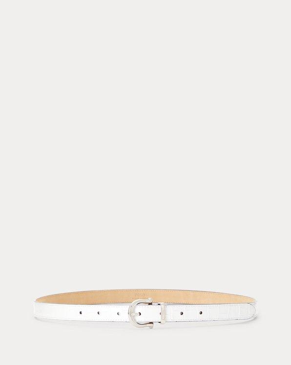 Crocodile-Stamped Leather Skinny Belt