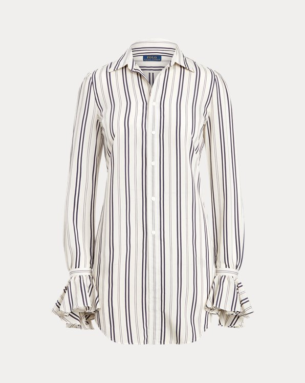 Striped Ruffle-Trim Shirt