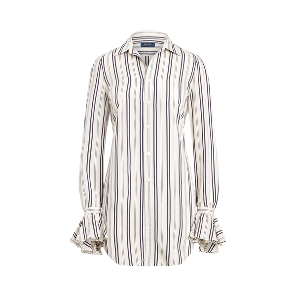 Ralph Lauren Striped Ruffle-trim Shirt In Multi