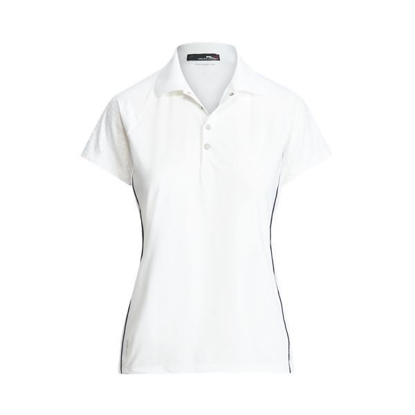 폴로 랄프로렌 Polo Ralph Lauren Tailored Fit Jacquard Golf Polo Shirt,Pure White/French Navy