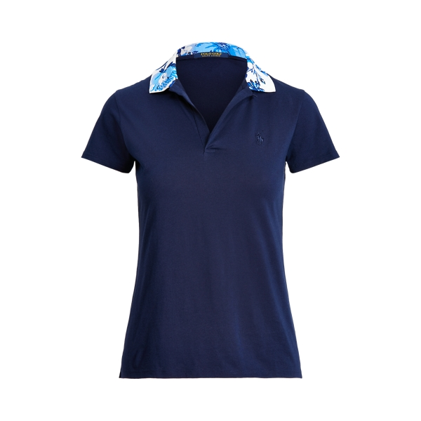 Ralph Lauren Golf Tailored Fit Floral Collar Polo,French Navy/Porcelain Flo