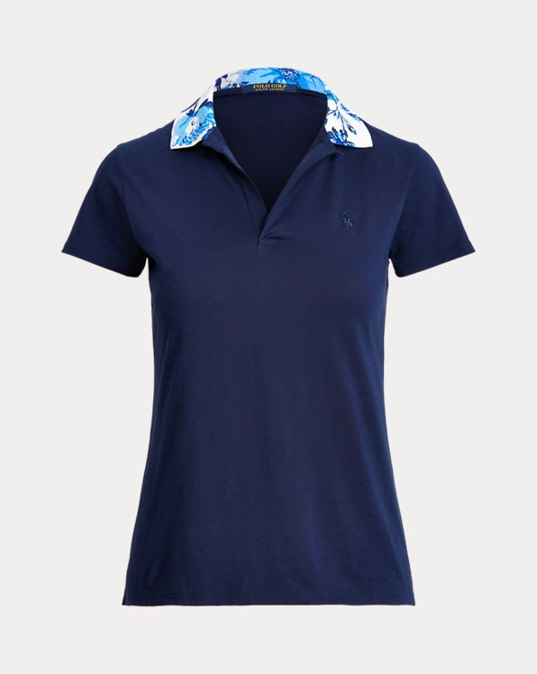 Tailored Fit Floral-Collar Golf Polo