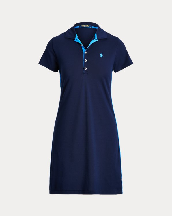 Striped-Trim Golf Polo Dress