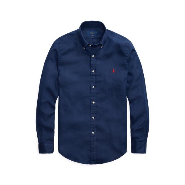 Ralph Lauren Custom Fit Linen Shirt In Newport Navy