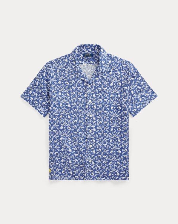 Tropisches Classic-Fit Leinenhemd