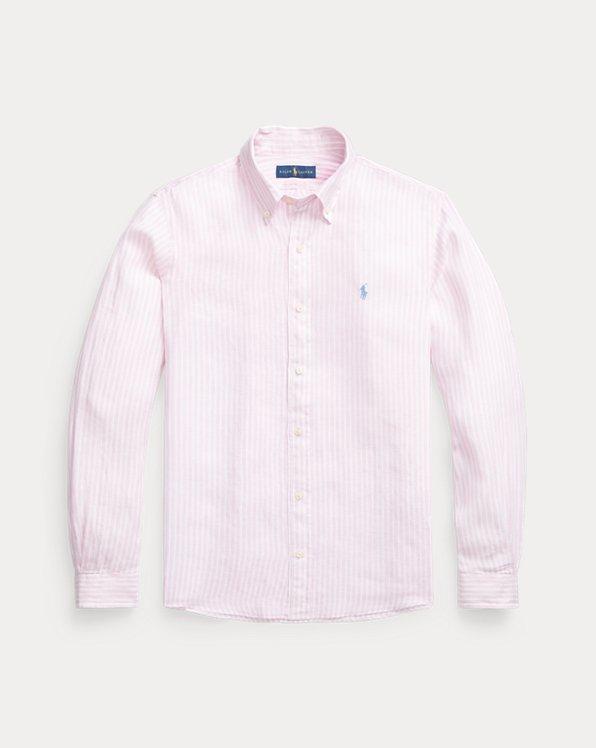 Gestreiftes Custom-Fit Leinenhemd