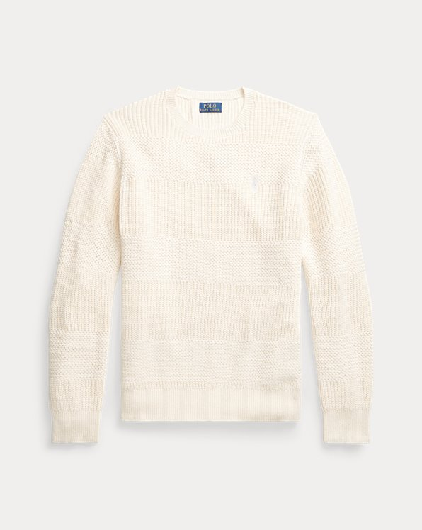 Textured Cotton Crewneck Jumper