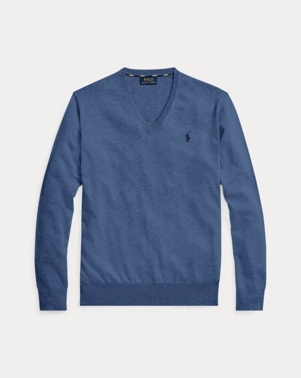 Slim Fit Cotton V-Neck Jumper