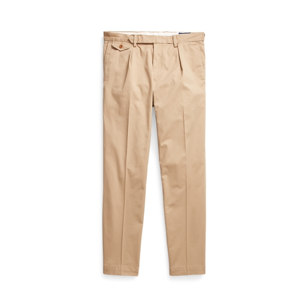 Ralph Lauren Stretch Slim Tapered Fit Pleated Pant In Neutrals