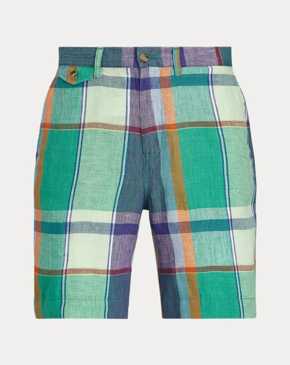 20.3 cm Straight Fit Linen Madras Short