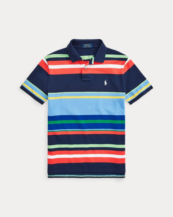 Custom Slim Fit Striped Mesh Polo Shirt