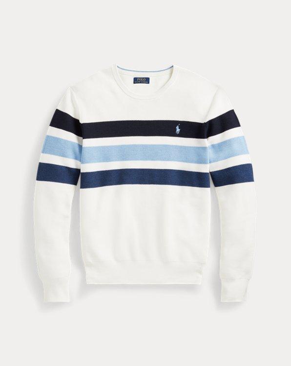 Striped Cotton Mesh Jumper