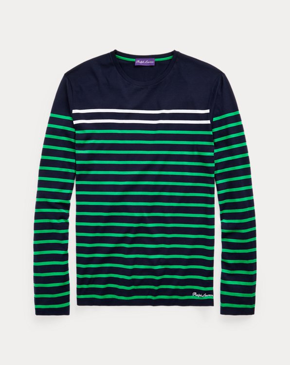 Gestreiftes Langarm-T-Shirt aus Florgarn