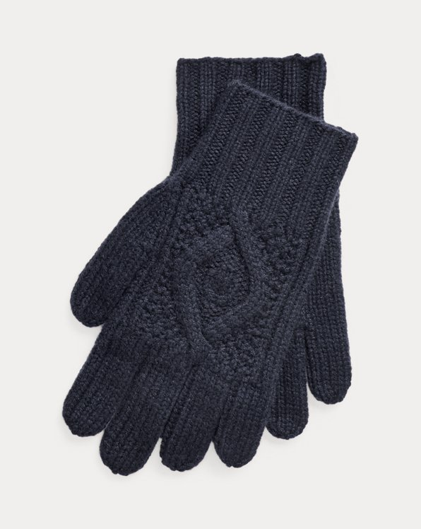 Hand-Knit Cable Cashmere Gloves