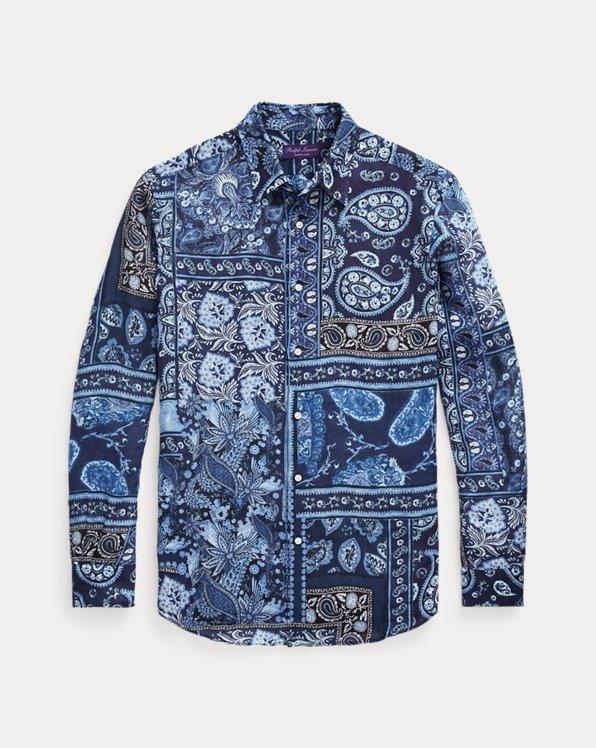 Camisa de lino con patchwork y estampado