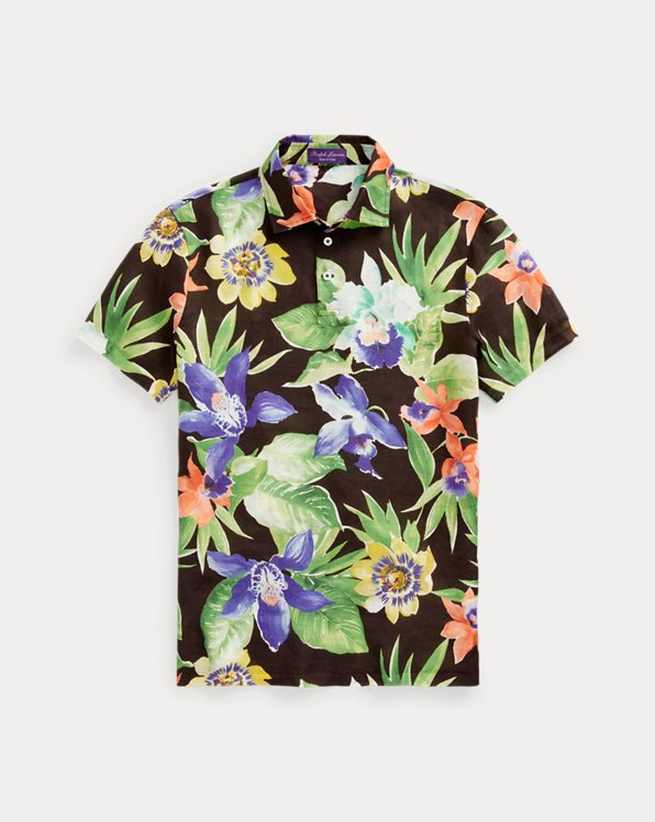 Floral-Print Jersey Polo Shirt