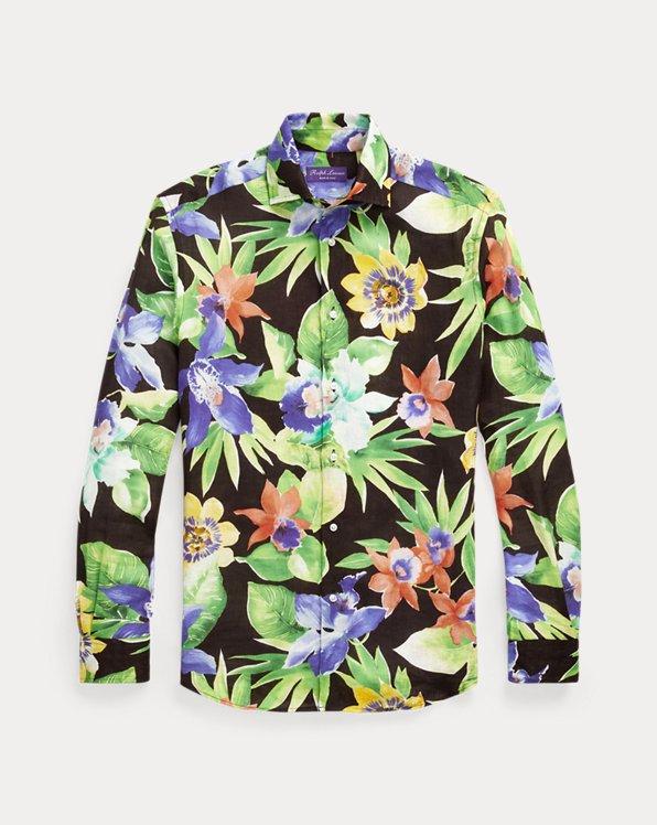 Leinenhemd mit Blumendruck