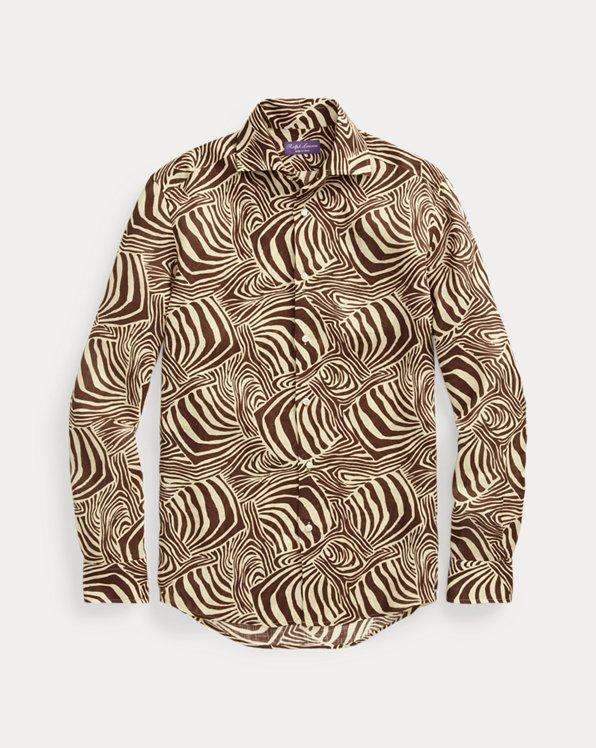 Zebra-Print Linen Shirt