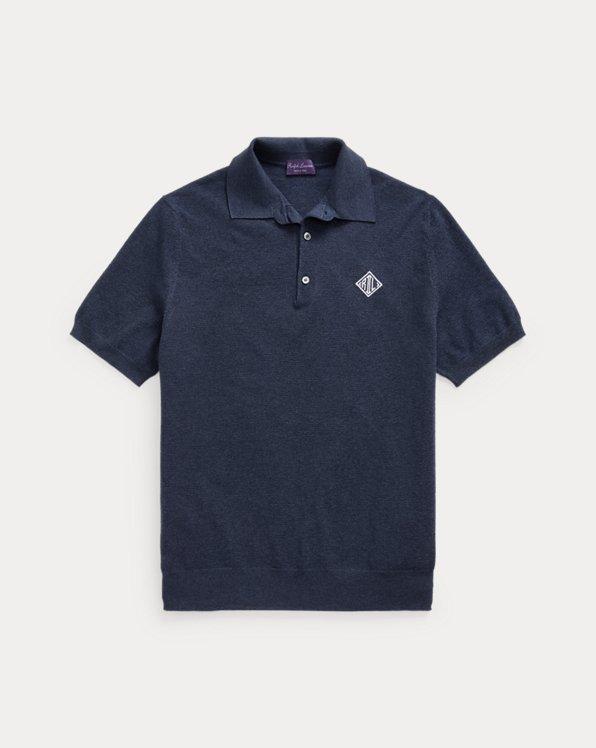 Monogram Silk-Blend Polo-Collar Sweater