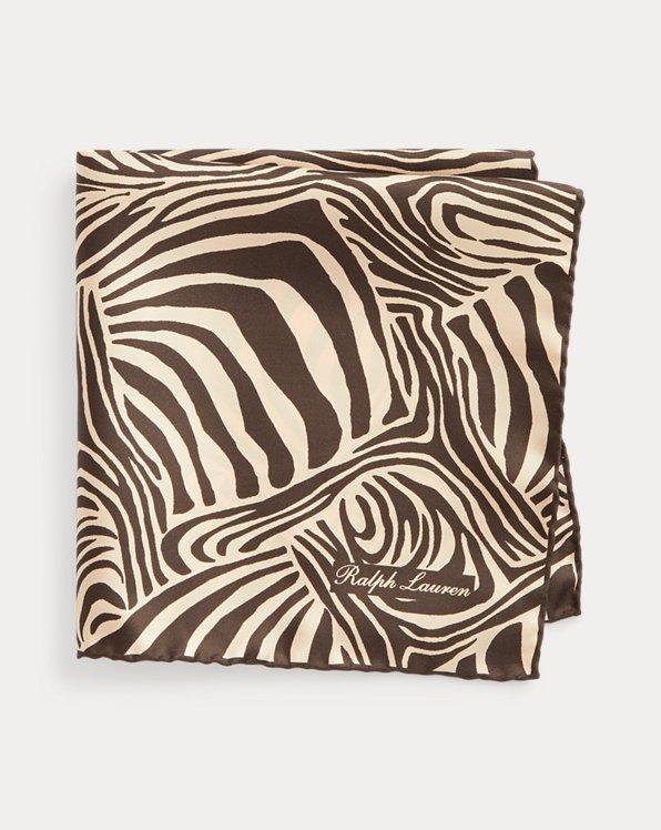 Zebra-Print Silk Pocket Square