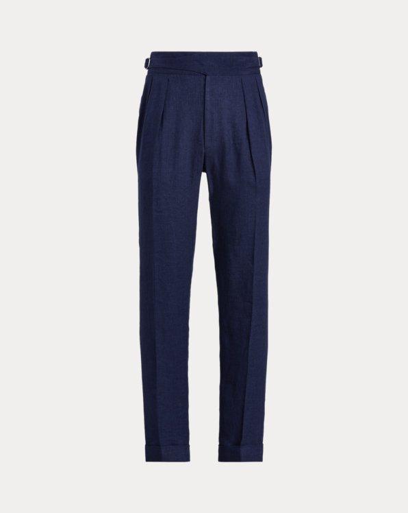 Buckled Linen-Silk Trouser