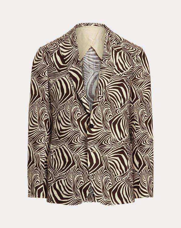 Kent Zebra-Print Linen Sport Coat