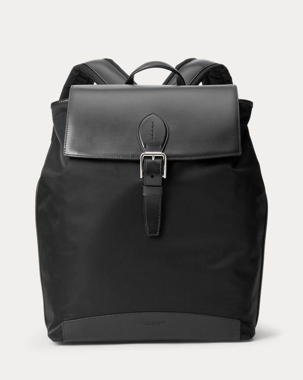 Voyager Calfskin-Trim Twill Backpack