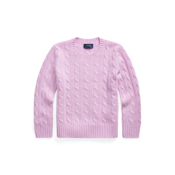 폴로 랄프로렌 여아용 꽈배기 니트 캐시미어 스웨터 - 라일락 Polo Ralph Lauren Cable Knit Cashmere Sweater