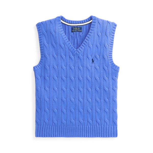 폴로 랄프로렌 남아용 꽈배기 스웨터 Polo Ralph Lauren Cable-Knit Cotton Sweater Vest,Harbor Island Blue