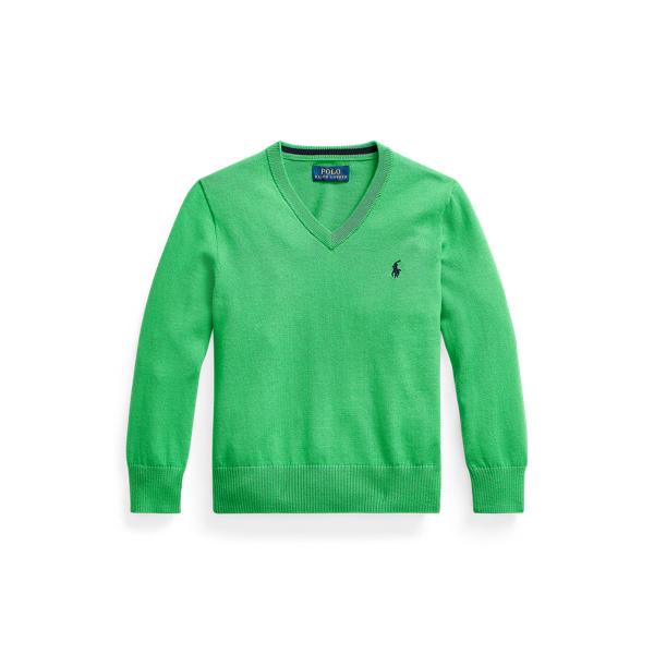 폴로 랄프로렌 남아용 스웨터 Polo Ralph Lauren Cotton V-Neck Sweater,Golf Green