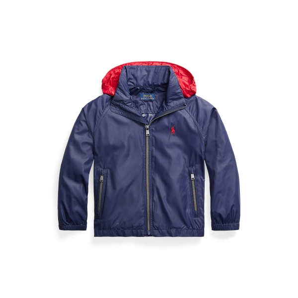 폴로 랄프로렌 남아용 자켓 Polo Ralph Lauren Water-Resistant Packable Hooded Jacket,Newport Navy/ Rl2000 Red