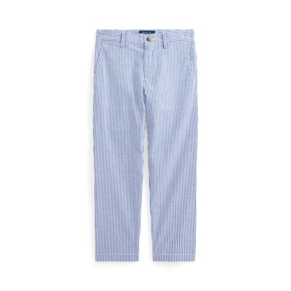 폴로 랄프로렌 남아용 팬츠 Polo Ralph Lauren Stretch Cotton Seersucker Skinny Pant,White/Provincetown Blue