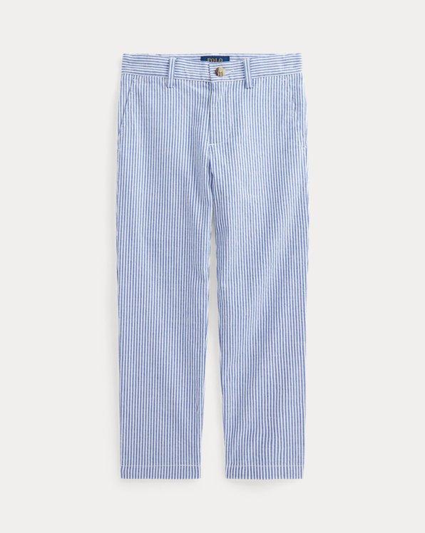 Stretch Cotton Seersucker Skinny Trouser