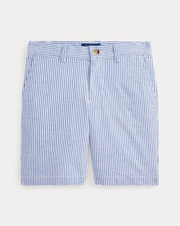 Slim Fit Stretch Cotton Seersucker Short