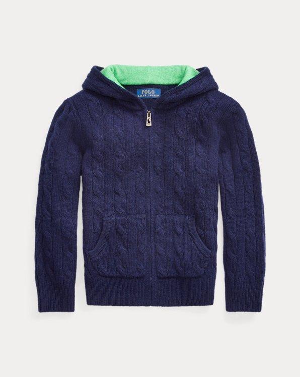 폴로 랄프로렌 남아용 꽈배기 스웨터 Polo Ralph Lauren Cable-Knit Cashmere Full-Zip Sweater,RL Navy