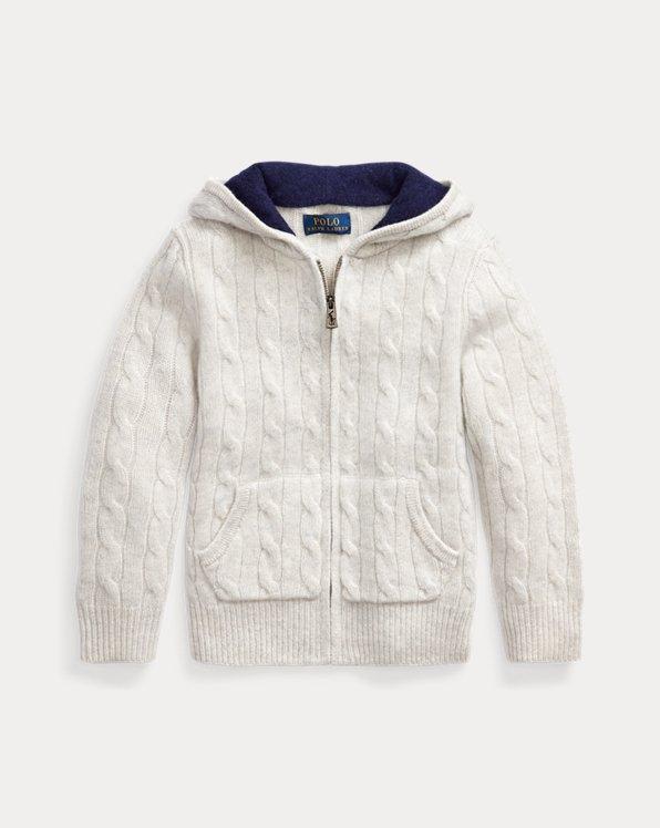 폴로 랄프로렌 남아용 꽈배기 스웨터 Polo Ralph Lauren Cable-Knit Cashmere Full-Zip Sweater,Light Grey Heather