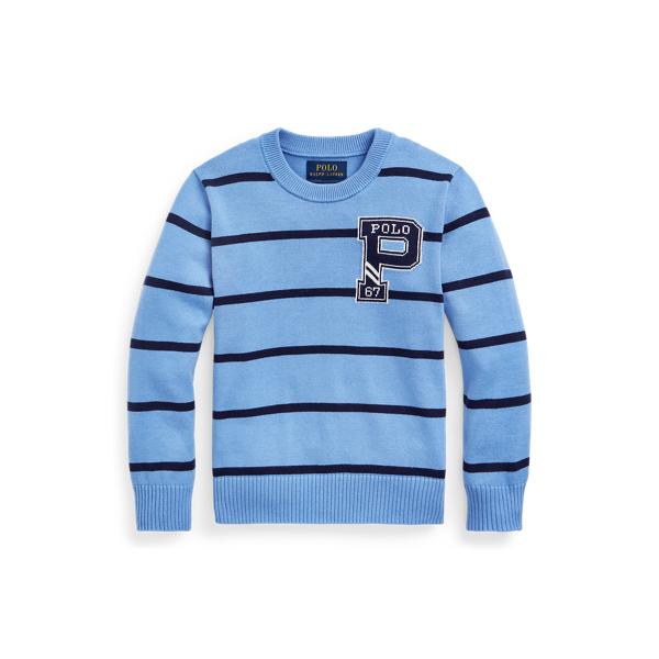 폴로 랄프로렌 남아용 스웨터 Polo Ralph Lauren Striped Cotton Letterman Sweater,Harbor Island Blue