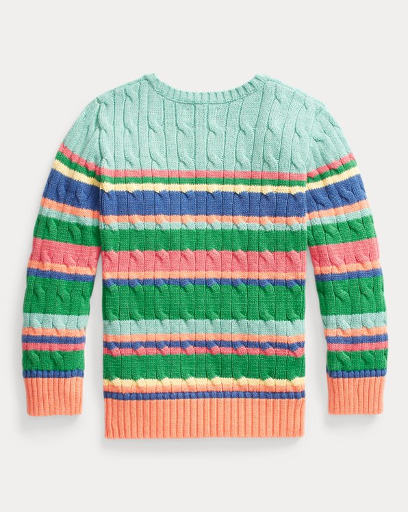 Striped Cable-Knit Cotton Sweater