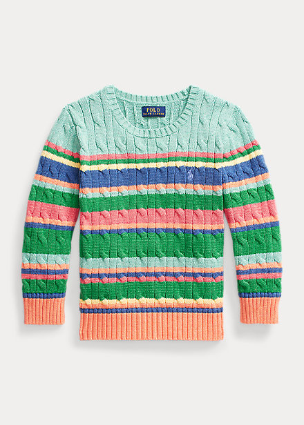 Polo Ralph Lauren Striped Cable Knit Cotton Sweater