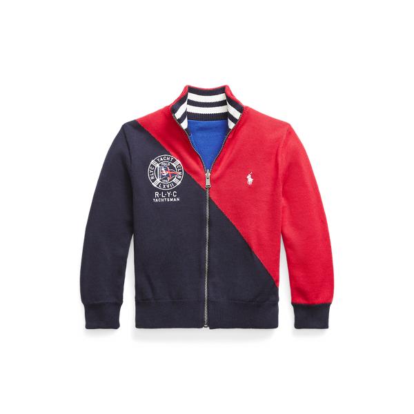 폴로 랄프로렌 남아용 스웨터 Polo Ralph Lauren Reversible Cotton Full-Zip Sweater,RL Navy Multi
