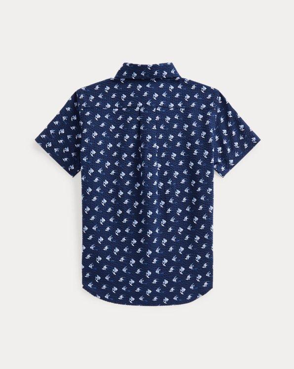 Angelfish-Print Cotton Seersucker Shirt