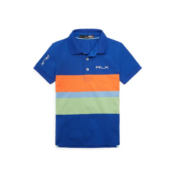 Polo Ralph Lauren Kids' Rlx Golf Tech Piqué Polo Shirt In Bright Royal Multi