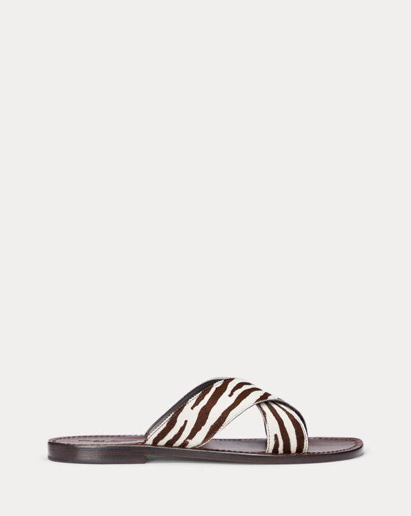 Zebra-Print Haircalf Slide Sandal