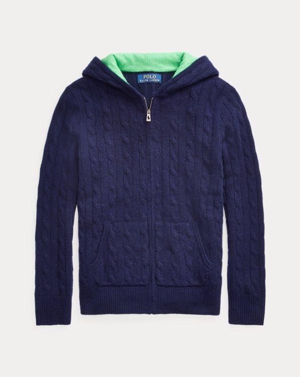 폴로 랄프로렌 보이즈 꽈배기 스웨터 Polo Ralph Lauren Cable-Knit Cashmere Full-Zip Sweater,RL Navy
