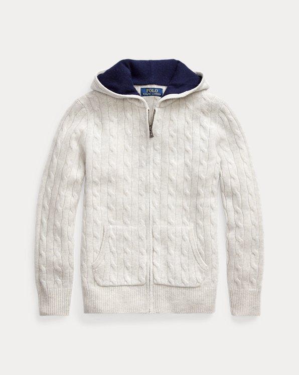 폴로 랄프로렌 보이즈 꽈배기 스웨터 Polo Ralph Lauren Cable-Knit Cashmere Full-Zip Sweater,Light Grey Heather