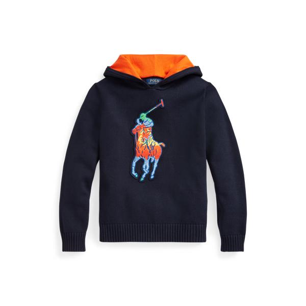 폴로 랄프로렌 보이즈 후드티 Polo Ralph Lauren Tie-Dye Big Pony Cotton Hooded Sweater,RL Navy