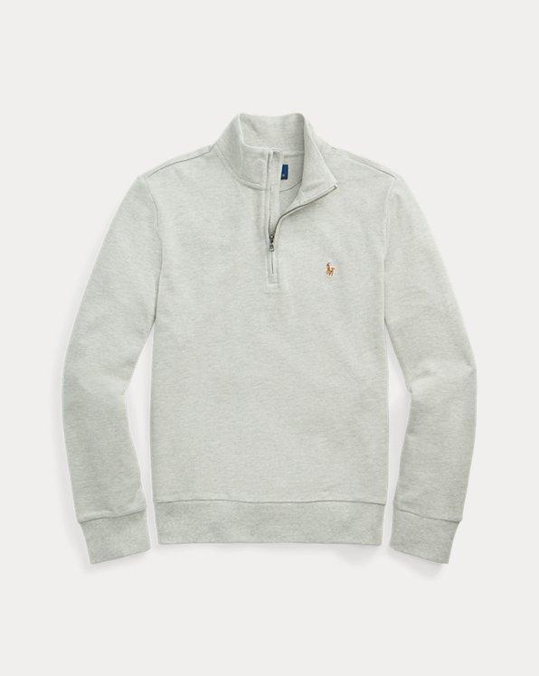Cotton Mesh Quarter-Zip Pullover